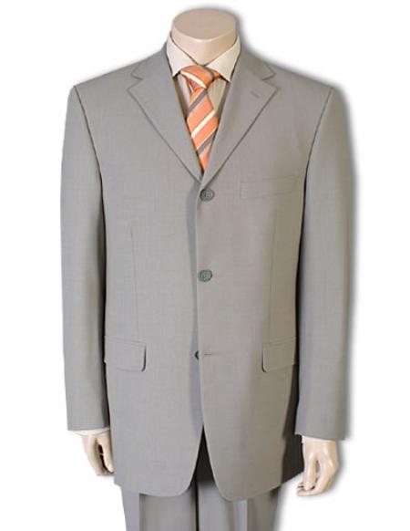 Mens-Tan Color Wool Suit ~ Beige