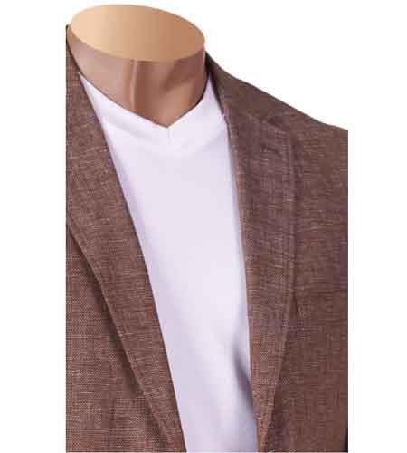 Product# SM825 Inserch Brand Brand Notch Lapel Linen Yarn Dye Blazer Online Sale Taupe