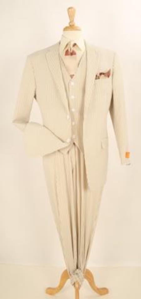JR57W 3 Piece Summer Seersucker Fabric Suit