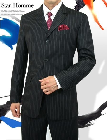 Product# A63TRS 3 Button Style Jet Liquid Jet Black Pinstripe Light Weight On Online Sale