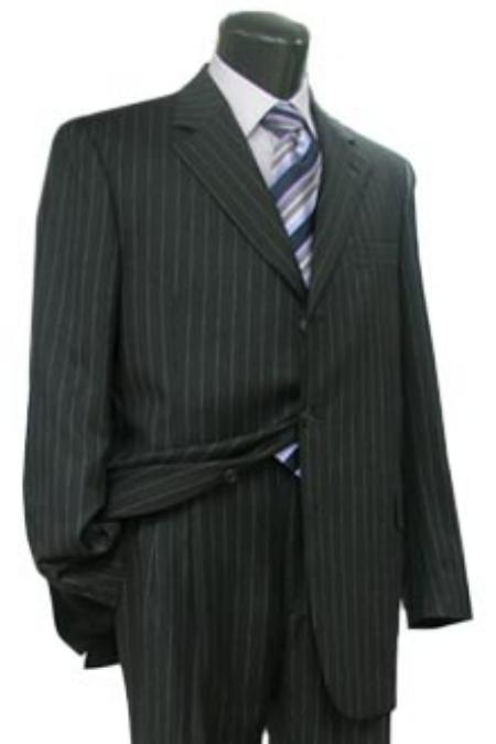 Product# 3B PIN W199 Simple Liquid Jet Black & White Pinstripe Business Real premier quality italian fabric Soft