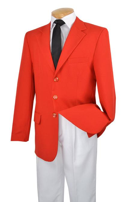 Three Button Single Breasted 100% Poplin Dacron Suit red color shade