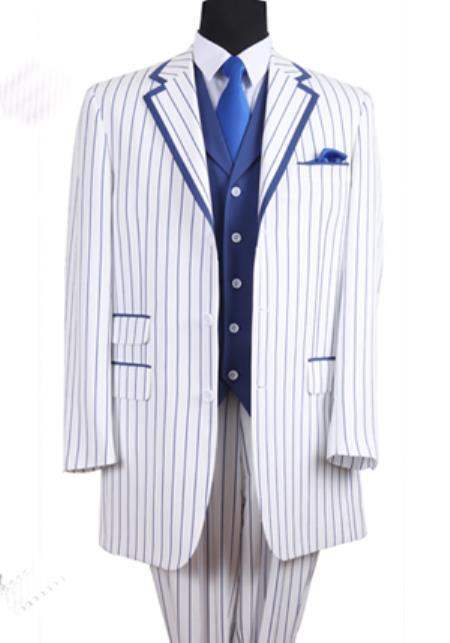 Product# PNL66 3 Button Style Single Breasted 35 Inch White/Blue Summer Cheap priced Mens Seersucker Suit Sale Fabric Pinstriped Tuxedo Look Vested 3 Piece