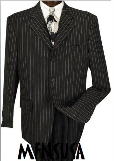 Product# MU99 Jet Liquid Jet Black & Chalk pronounce visible White Pinstripe Suit 3 Buttons Style Party Suits for Online year-round weight