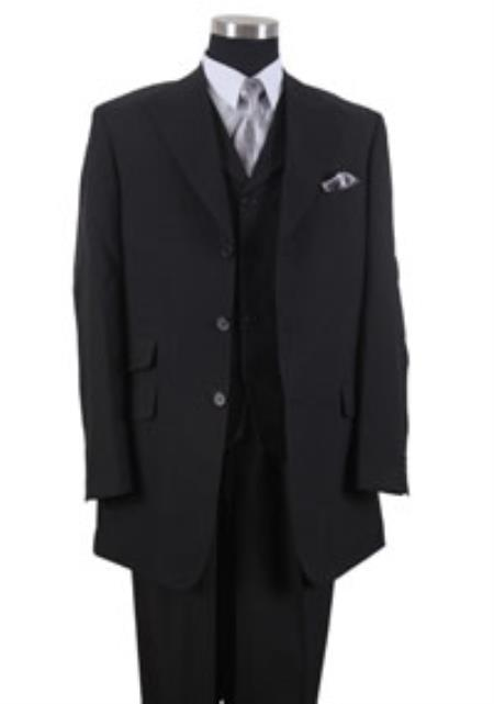 Product# 8C2EE 3 Button Style Peak Lapel Vested 3 Piece Dress Ticket Pocket Suits for Online Black