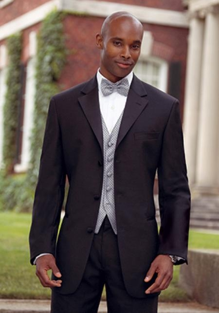Big and Tall Sizes Satin Collar 3 Button Style Notch Tuxedo with Any Size Pleated Slacks Pants