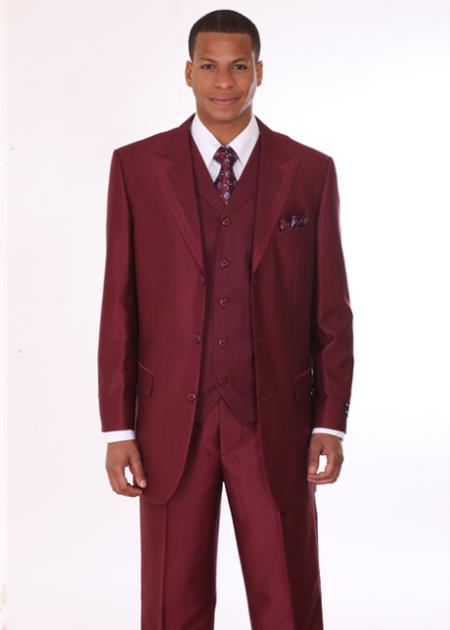 1dcd048c5fd528 Product# GJ37 3 Piece 3 Button Style Fashion Suit with 2 Tone Lapels  Burgundy ~