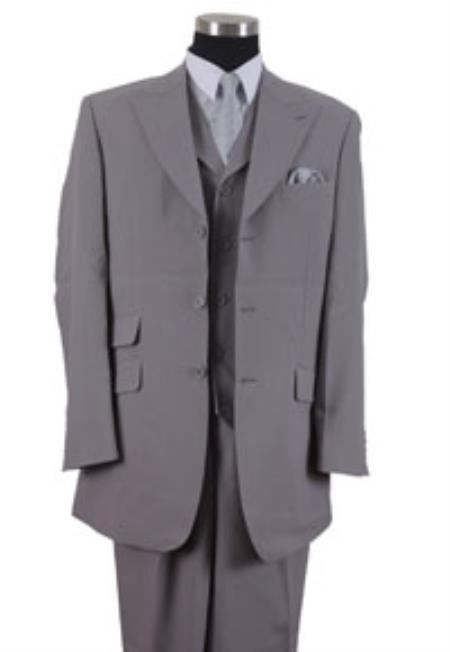Product# YU40X 3 Button Style Peak Lapel Vested 3 Piece Dress Ticket Pocket 1940s Mens Suits Style for Online Gray