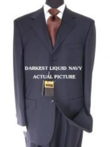 Designer Brand Name 3 Buttons Style premier quality italian fabric Liquid Darkest Navy Superior Fabric 150's non back vent coat style