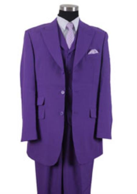 Product# KK3L4 3 Button Style Peak Lapel Vested 3 Piece Dress Ticket Pocket Suits for Online Purple