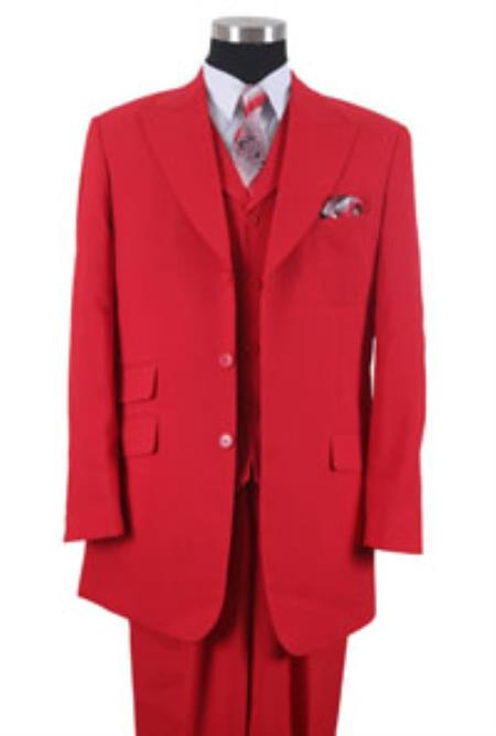 Product# BBC00 3 Button Style Peak Lapel Vested 3 Piece Dress Ticket Pocket Suits for Online Red