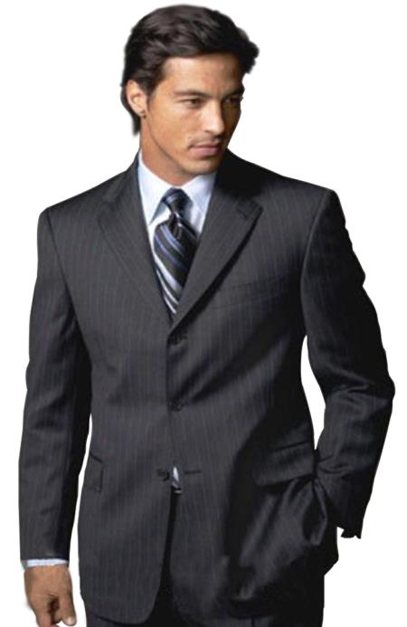Sharp Liquid Jet Black & Liquid Jet Black Shadow Pinstripe Superior Fabric 140's Wool Fabric Feel Touch Poly Rayon 3 Buttons Style men's Suits