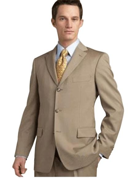 Tan khaki Color ~ Beige/Bronz Superior Fabric 140's Wool Fabric 3 Button Style Suits for Online