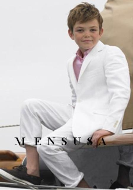 Product# MUB8 High Quality Kids Boys Snow White 3 Buttons Style Worsted Light Weight Dress Formal Boys And Men Suit For Teenagers