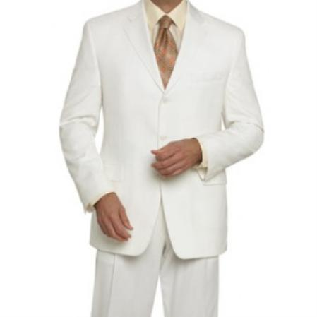 Product# KA 3 Buttons Style Off White Wool Fabric feel poly~rayon single breasted Suit ( Jacket and Pants)  For Men
