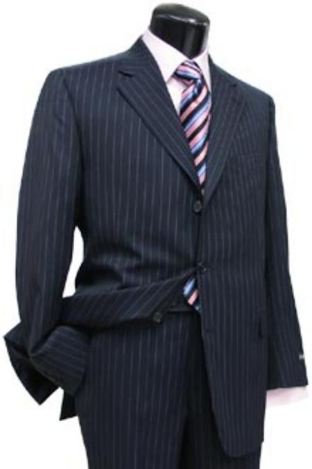 Navy Blue Shade Pin Stripe ~ Pinstripe 3 Button Style Side Vent Jacket Superior Fabric 150's Wool Fabric Suit