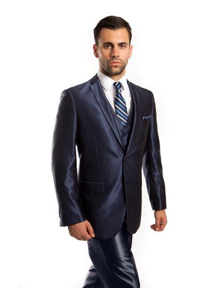 JSM-5210 Men's Sharkskin Flashy Metallic Silky Shiny Navy