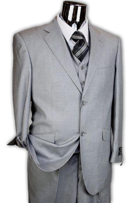 Light Grey 3 Piece 2 Button Style Italian Designer Athletic Cut Suits Classic Fit