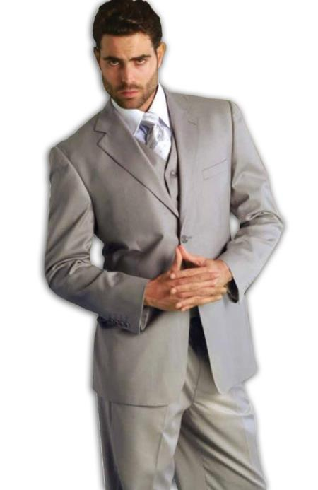 Classic 3 Piece Superior Fabric 150s Pleated Slacks Pants Italian Fabric 2 Button Style Athletic Cut Suits Classic Fit  Grey