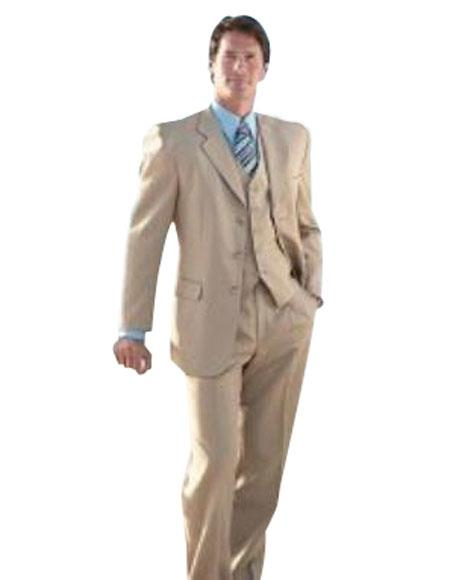 Elegant 3 Piece Tan khaki Color ~ Beige three piece suit Made Crafted From Superior Fabric 150's premier quality italian fabric Wool Fabric
