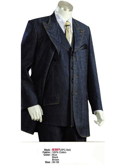 Denim Cotton Fabric 1940s men's Suits Style For sale ~ Pachuco men's Suit Perfect for Wedding Style comes in Blue or Liquid Jet Black or brown color shade