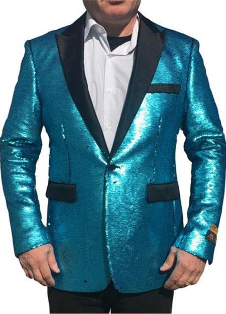Alberto Nardoni Best men's Italian Suits Brands Shiny Flashy Sequin Tuxedo Black Lapel paisley look sport jacket ~ coat Turquoise