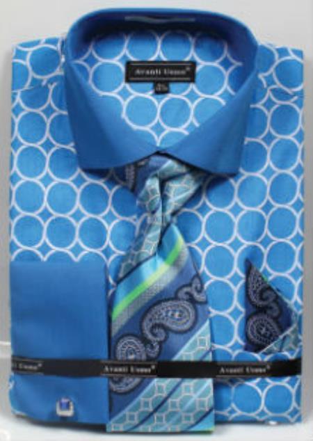 Product# MK809 Avanti Uomo Printed Pattern French Cuff Dress Shirt Turquoise
