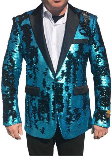Sequin Blazer Alberto Nardoni Best men's Italian Suits Brands Shiny Flashy Sequin Tuxedo Black Lapel paisley look sport jacket ~ coat Turquoise