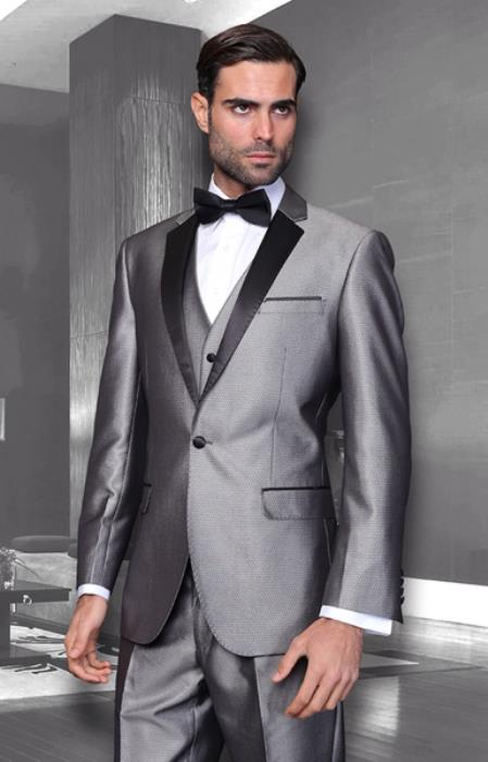 Mens Sharkskin Suits Unique Colorful Grey Tuxedo Suits for Online With Vested Jacket + Pants + Vest Shiny Flashy Sharkskin Black and Silver Suit Grey ~ Gray Available in Shawl Lapel Black lapeled Clearance Sale Online