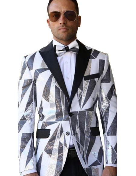 men's Single Breasted 1920s Tuxedo Style Peak Black Lapel white suit