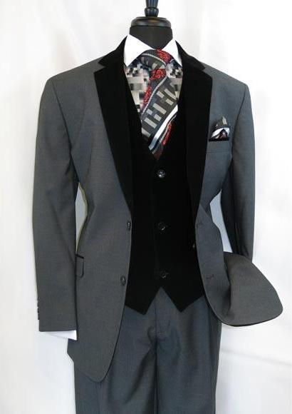 Men's 2 Button Black Single Breasted Velour Notch Velvet Lapel Vested Side Vents Suit