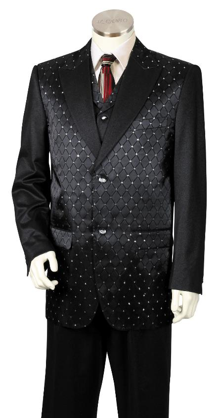3 Piece Designer Fashion Trimmed Two Tone Blazer Online Sale/1940s men's Suits Style For sale ~ Pachuco men's Suit Perfect for Wedding/Tuxedo - Fancy Diamond Pattern Liquid Jet Black