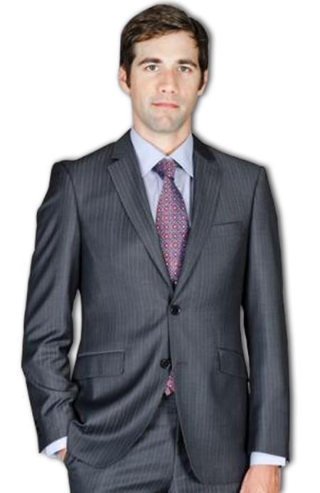 Slim narrow Style Fit Liquid Jet Black Stripe ~ Pinstripe Wool Fabric and Silk Blend Suit
