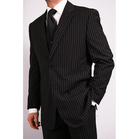 Product# OS3F 3-Piece Liquid Jet Black pronounce visible White Chalk pronounce visible Pinstripe Vested Suit