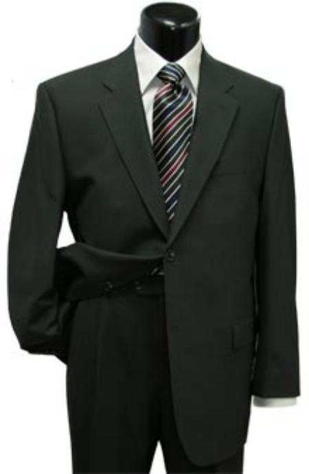 Product# CLK500 Liquid Jet Black Classic Two Button Style Superior Fabric Wool Fabric Suit