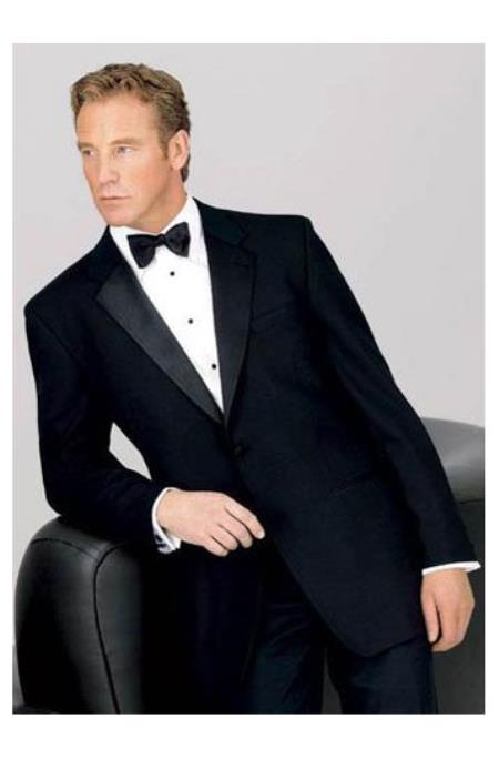 Big and Tall 2 Button Notch Tuxedo 100% Worsted Wool for Big Men
