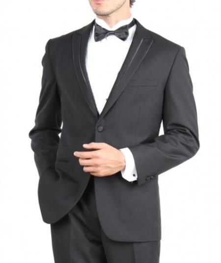Product# PN90 Slim narrow Style Fit Two Button Tuxedo Liquid Jet Black