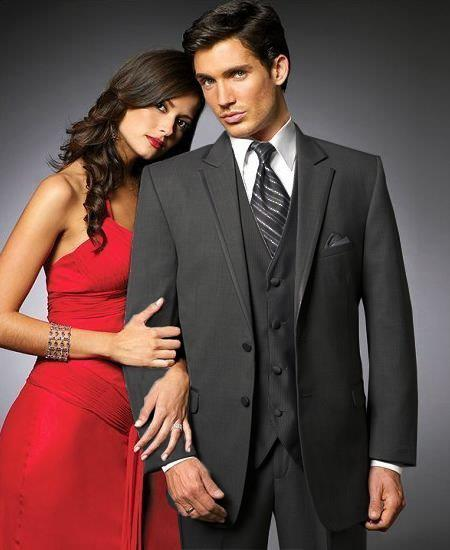 Product# YS32 2 Btn Suit/Stage PartyTuxedo Satin Trim outlines a Notch Lapel Matching Trousers Liquid Jet Black