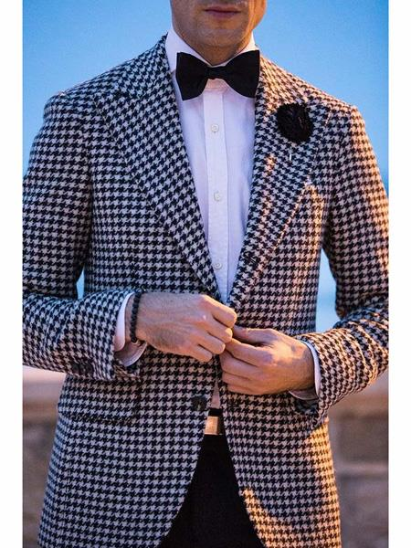men's Two Button Designed Peak Lapel Black ~ White Blazer