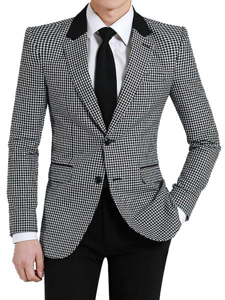 men's Two Button Designed Notch Lapel Black ~ White Blazer