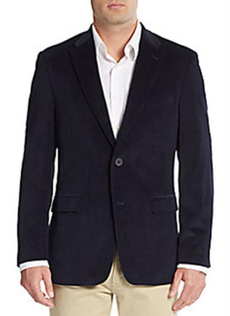 Two Button Front Regular Fit Corduroy Blazer Online Sale Navy