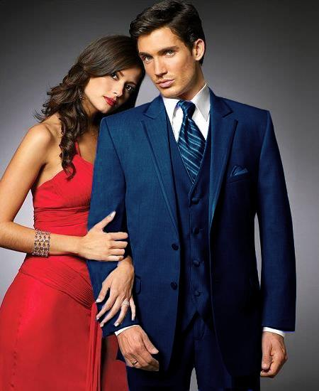 Product# NH6 2 Btn Suit/Stage Party Tuxedo Satin Trim outlines a Notch Lapel Matching Trousers Navy ~ Midnight blue