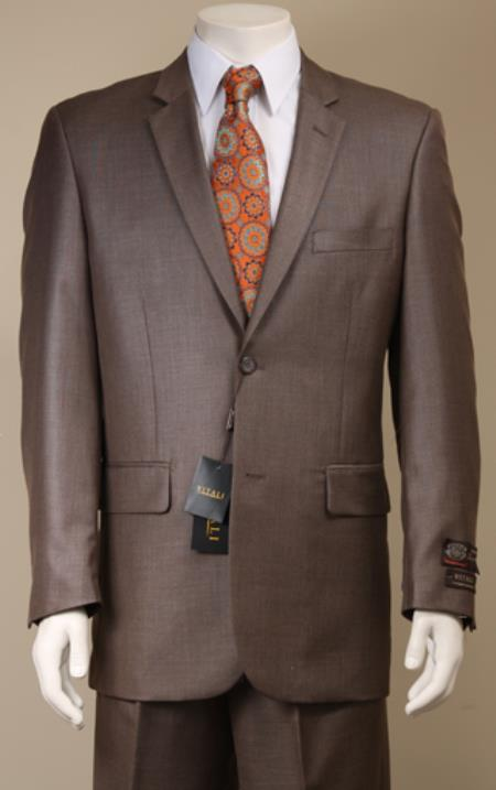 Product# 8KP2 2 Button Style patterned Mini Weave Patterned Shiny Sharkskin brown color shade Suit