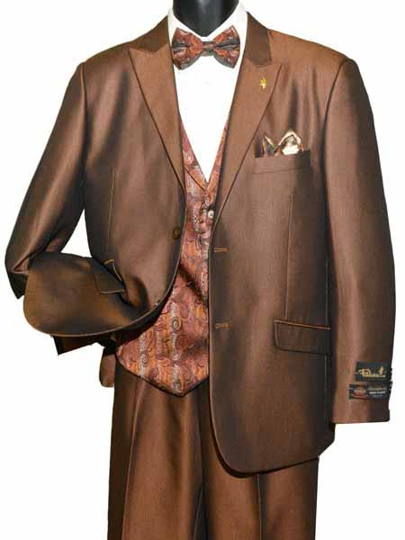 SD173 Mens 2 Button Peak Lapel Single Breasted Brown Vested With Adjustable Tie Suit