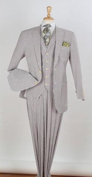 Product# JSM-3316 Men's Big & Tall Cheap priced men's Seersucker Suit Sale Suit - 100% Cotton Brown ~ Taupe ~ Tan Color for Big Man