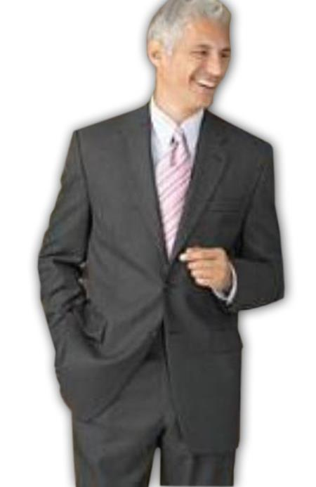 Retail $1295 100% Wool Fabric Flat Front No Pleated Slacks Pants & 2 Button Style Dark Grey Masculine color Gray On Online Sale