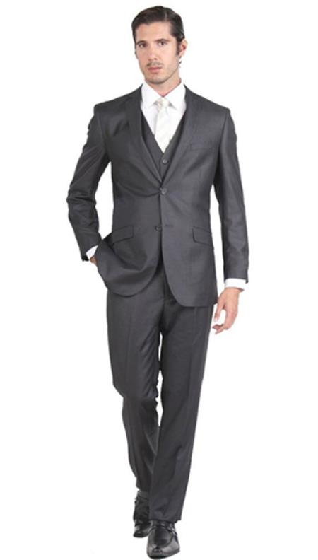 Mens 2 Button Charcoal Suit