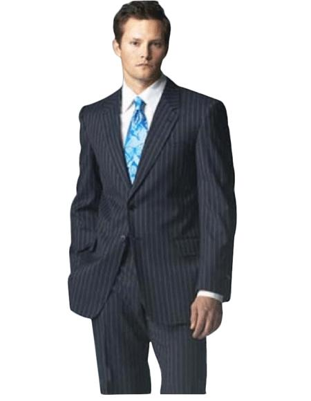 Button Navy Blue Shade Pinstrip Suits for Online With Flat Front Pants 5 Colors