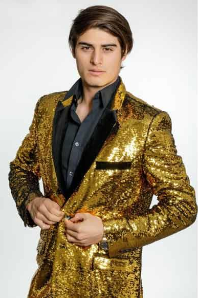 Men's 2 Button Gold Sequins Velvet Lapel Single Breasted Blazer ~ Suit Jacket