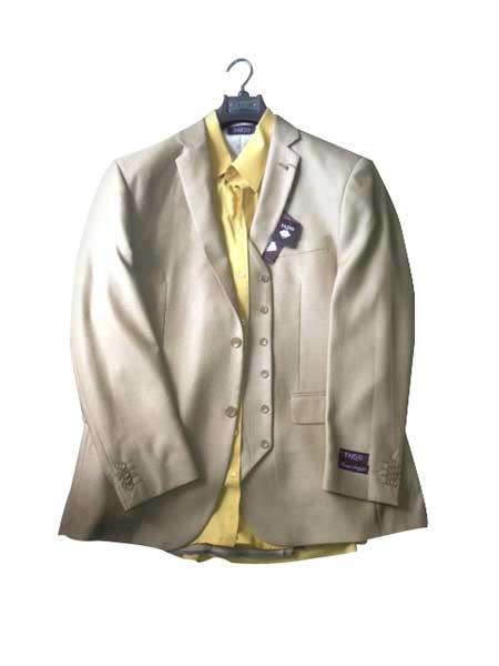 Product# KA8105 Two button Vested Gold ~ Bronz ~ Camel ~ Khaki Vested 3 Piece Dress Suit